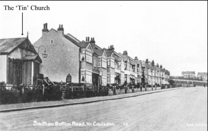 Looking up Smitham Bottom Rd (later Woodcote Grove Rd) before St. Andrew's Church was built.