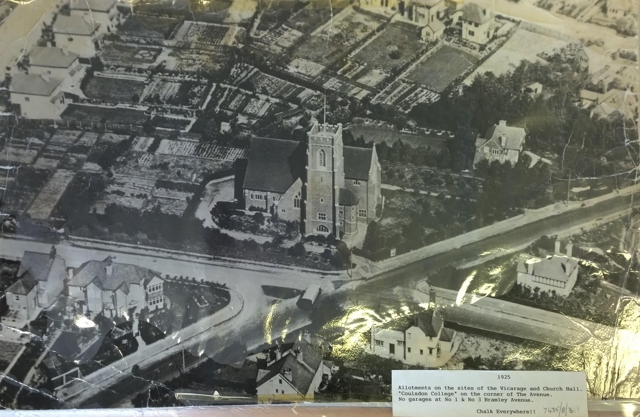1925 Ariel view of church